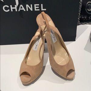 Jimmy Choo nude suede platform peep toe shoes